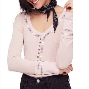 Free People Rainbow Thermal Top Rose Embroidered
